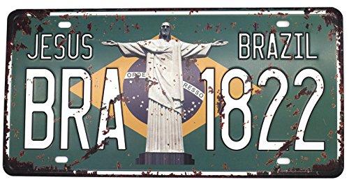 JESUS BRAZIL BRA 1822 Vintage Auto License Plate, Embossed Tag Size 6