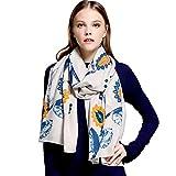 Women's Fashion Luxury Pure Wool Winter Scarves Printing Wraps Long Stole Shawl(185cmx65cm),1#