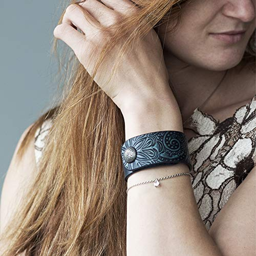 Handmade Dark Blue Leather Cuff Bracelet for Women Ladies Girls, Hand Painted Tooled Bracelet with Snap Closure ()