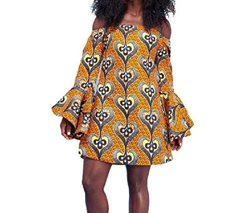 Coolred-femmes Flare Manches Grande Pendule Impression Robe De Style Folk Comme Image