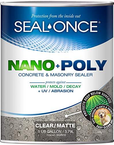 SEAL-ONCE Nano+Poly Concrete & Masonry Penetrating Sealer & Waterproofer, 1 Gallon, Low VOC, Water-Based with Polyurethane - Driveways, Patios & Brick