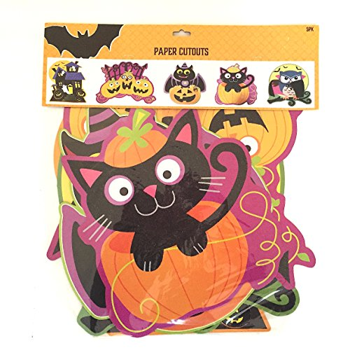 Glitter Paper Cutouts Halloween Decorations: 5 pc. Set