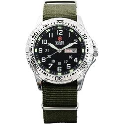 Shark Army Mens Date Day Nylon White Silver Military Sport Bracelet Watch + Box SAW019