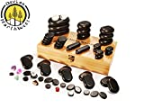 Hot Stone Massage Kit Large Basalt Stones Set With Bamboo Box 60 PC