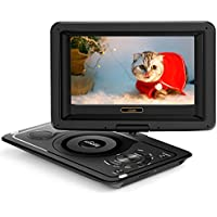 (Updated 2018) GooBang Doo EVD-1 Portable DVD Player Support Customizing Personalized Boot Screen with 8 hours Rechargeable Battery, Swivel Screen, SD Card Slot and USB Port - Black