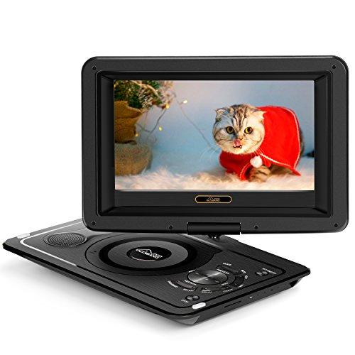 (Updated 2018) GooBang Doo EVD-1 Portable DVD Player Support Customizing Personalized Boot Screen with 8 hours Rechargeable Battery, Swivel Screen, SD Card Slot and USB Port - Black (Player Princess Dvd)