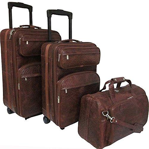 AmeriLeather Leather Three Piece Set Traveler (Brown Ostrich (3 Piece Print Luggage Set)