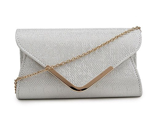 BAG ENVELOPE GOLD EVENING White DESIGN CLUTCH STRAP SHIMMER NEW WOMEN'S SILVER TRIM Off CHAIN 06Rq1Ptw