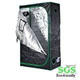 Quictent SGS Approved Eco-friendly 48''x24''x84'' Reflective Mylar Hydroponic Grow Tent with Heavy Duty Anti-burst Zipper and waterproof Floor Tray for Indoor Plant Growing 4'x2'