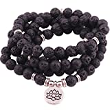 GVUSMIL 8mm Mala 108 Beads Lava Rock Wrap Bracelet Necklace Essential Oil Diffuser for Yoga Buddhist Rosary Prayer Charm Natural Gemstone Jewelry for Women Men