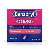 Image of Benadryl Ultratabs Antihistamine Allergy Relief with Diphenhydramine HCl 25 mg, 48 ct