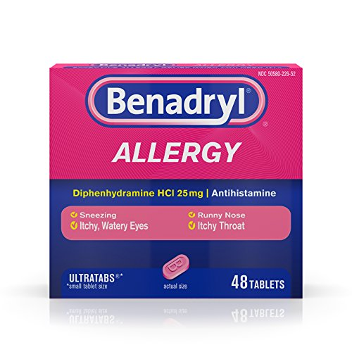 Benadryl Ultratabs Antihistamine Allergy Relief with Diphenhydramine HCl 25 mg, 48 ct