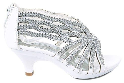 Fabulous Angel76 Kids White Rhinestone Cut Out Starppy Platform Low Heel Dress Sandals-13