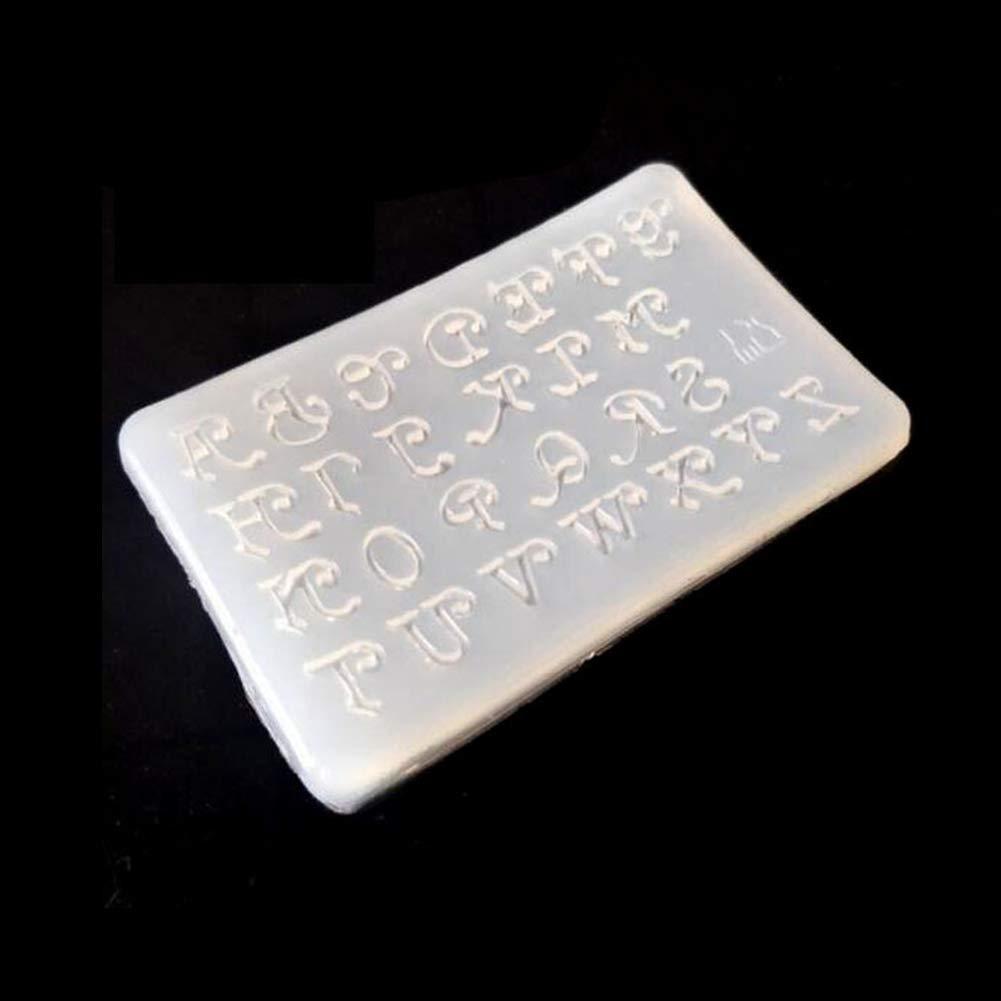 Brussels08 per creazione di gioielli fai da te Stampo in resina epossidica con 26 lettere dellalfabeto in silicone in resina epossidica Colore casuale