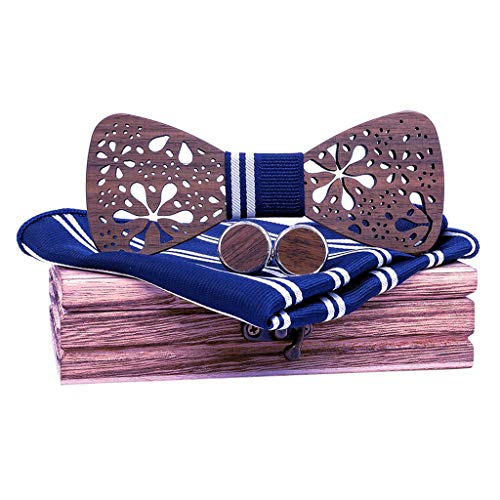 Handmade Groom Groomsman Wood Hollow Carved Bow Tie Pocket Square Men's Cufflinks Set (Navy)