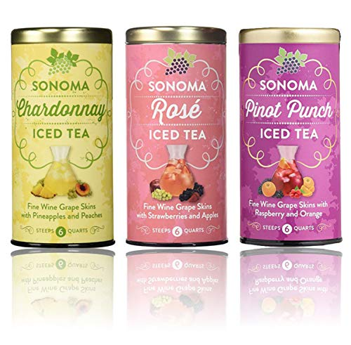 Republic of Tea Sonoma Trio Set of Chardonnay, Rosé, and Pinot Punch Iced Tea 6 Large Tea Pouches 6 Quarts Each Flavor ()