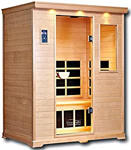 Clearlight CE-3 Three Person Sauna Zero EMF Infrared FAR True Wave II Fusion Carbon/Ceramic Heaters - Nordic Spruce Wood - Dual Digital Controls - Chromotherapy Light