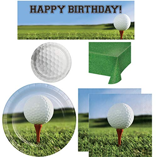 Golf Themed Party Supplies, Serves 16 Guests: Dinner Plates, Dessert/Cake Plates, Napkins, Table Cover, Large Happy Birthday Banner Decoration, Wildflower Party Planner]()