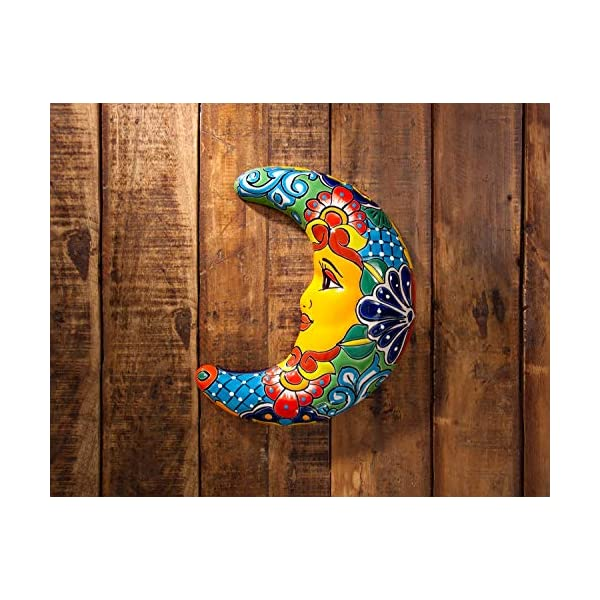 Jayde-N-Grey-Talavera-Pottery-Hand-Painted-Ceramic-Sun-Wall-Plaque-Celestial-Decor-Eclipse-Wall-Hanging-Decoration-Art-Crescent-Moon-12