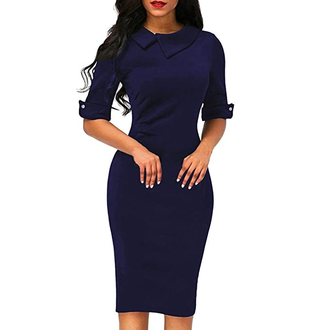 Xinantime_Vestido 🌹 Vestido de Mujer, Oficina Formal de Mujer Retro Bodycon Debajo de la Rodilla Vestido a lápiz con Cremallera Trasera: Amazon.es: Ropa y ...