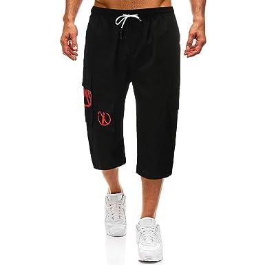 Herren 34 Hosen Shorts mit Tunnelzug Bermuda Strandhose Männer Overalls Sport Yoga Cargo Chino Hose Jogginghose Freizeithosen Vintage Outdoors