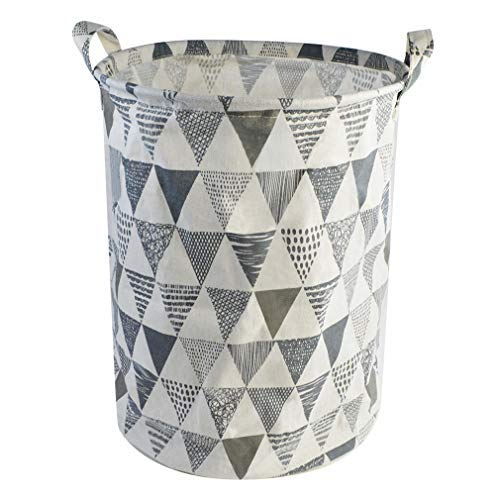 Nydotd Waterproof Foldable Canvas Laundry Hamper Bucket with Handles Linen Storage Bin Triangle Pattern-Grey Dirty Clothes Laundry Basket for Kids Room, Home Organizer, Nursery Storage, Baby Hamper