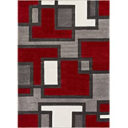 "Uptown Squares Red & Grey Modern Geometric Comfy Casual Hand Carved Area Rug 5x7 ( 5'3"" x 7'3"" ) Easy to Clean Stain Fade Resistant Abstract Boxes Contemporary Thick Soft Plush Living Dining Room Rug"