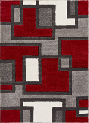 (Imagination Squares Boxes Red & Grey Modern Ruby 5'3