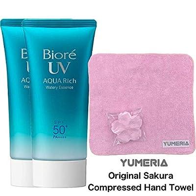 Biore UV Aqua Rich Watery Essence 50g, 2019 Renewed Sunscreen, SPF50+ PA++++, Set of 2 with YUMERIA Original Sakura Compressed Hand Towel