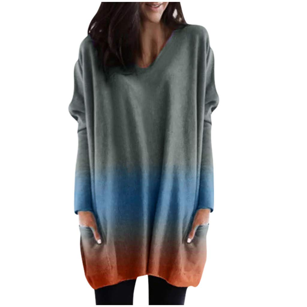 Shusuen Women Plus Size Long Sleeve Tunic Tops Loose Dyed Tied Shirt Pullover Sweatshirts with Pocket Grey by Shusuen_Clothes
