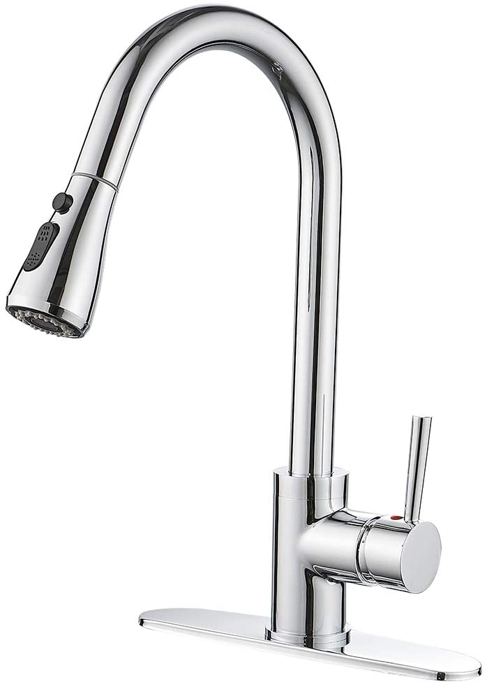 Kitchen Sink Faucet With Pull Down Sprayer Chrome Single Handle High Arc Pull Out Kitchen Faucets Single Level Solid Brass Bar Kitchen Faucet With Deck Plate Amazon Com