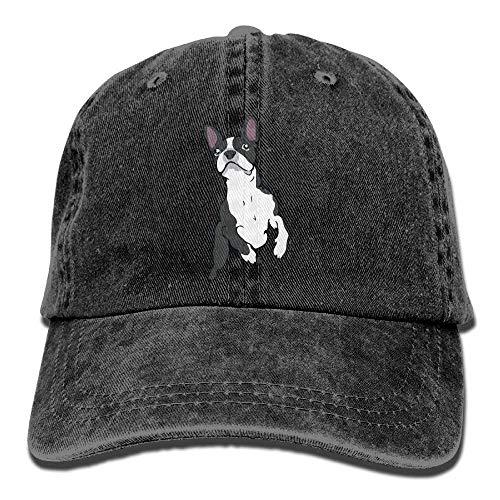 (DeReneletrc Unisex Boston Terrier Vintage Jeans Baseball Cap Adjustable Dad Hat)