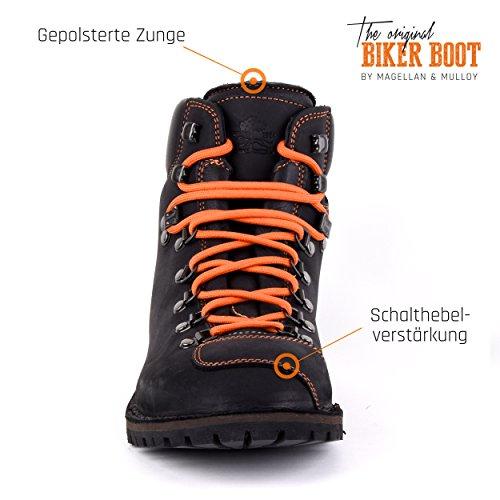 Biker Boot Adventure Denver Nero, Stivali Da Uomo Neri, Cuciture Arancioni