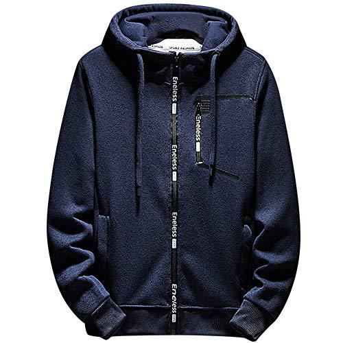 CUCUHAM Men's Autumn Winter Fashion Leisure Sports Hooded Zipper Sweatshirt Jacket Coat(Blue,Large)
