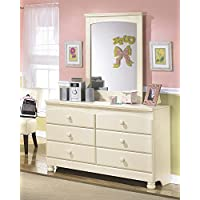 Cottage Retreat Vintage Casual Dresser and Mirror in Cream Finish
