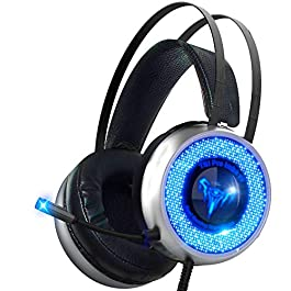 Led Gaming Headset with Microphone – Surround Sound Stereo Wired Gamer Headphones for PC, PS4, PS3, Xbox, Nintendo…