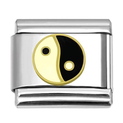 Amazon.com: Yin Yang encanto italiano pulsera de acero ...