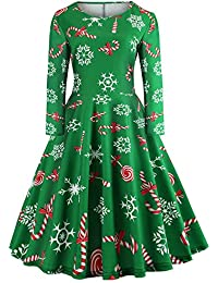 Ladies Multi-Color Christmas Elements Print Crew Neck Long Sleeve Dress Vintage Party Gown