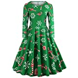 iDWZA Women Fashion Christmas Pattern Print Evening Party Swing Dress Prom Skirt(S,Green)