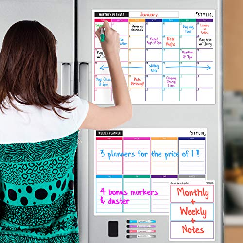 (STYLIO Dry Erase Calendar Whiteboard. Set of 3 Magnetic Calendars for Refrigerator: Monthly, Weekly Organizer & Daily Notepad. Wall & Fridge Family Calendar. 4 Fine Point Markers & Eraser)