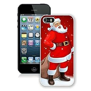 Custom-ized Iphone 5S Protective Cover Case Cartoon Santa Claus iPhone 5 5S TPU Case 1 White