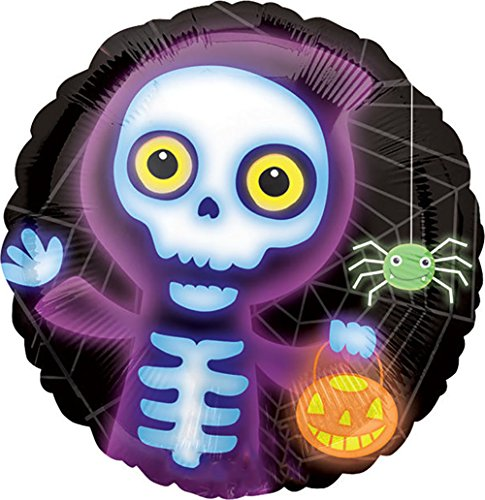 "Custom, Fun & Cool {Big Large Size 18"" Inch} 1 Unit of Helium & Air Inflatable Mylar Foil Balloon w/ Cute Glowing Skeleton Ghost Pumpkin Spider Halloween Design [in Black, - Pumpkin Balloon Foil Mylar"