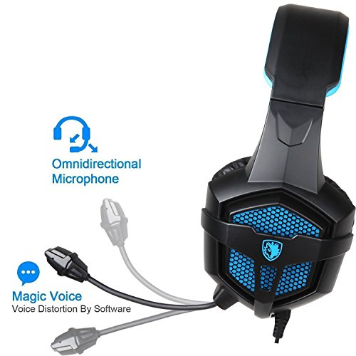 PS4 Gaming Headset SADES SA807 Stereo Headphone 3.5mm Wired with Mic for PC Mac New Xbox one Black Blue