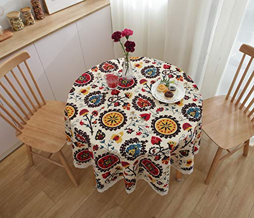 famibay Everyday Kitchen Table Cloth Vintage Square Tablecloth Indoor Outdoor Decorative Macrame Lace Tablecloth Navy Blue Jacquard Damask Design ¡ (Round,60 Inch, Bohemian Style)