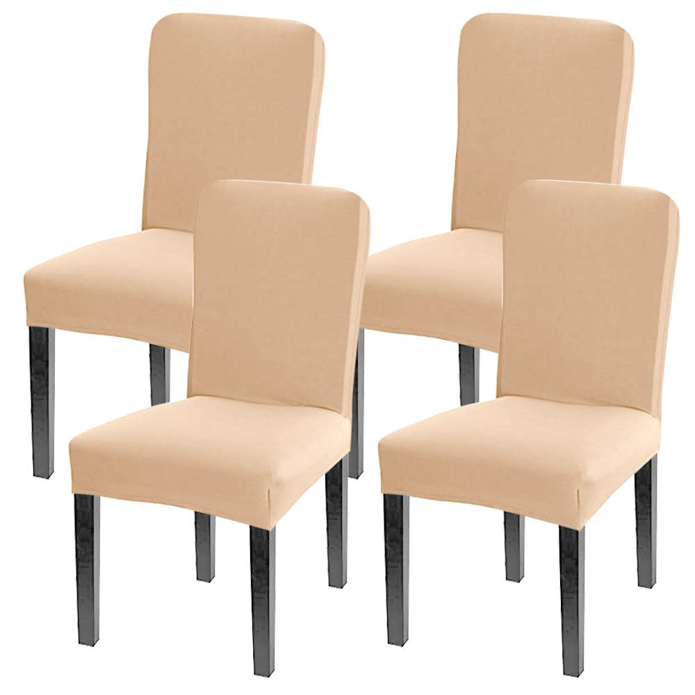 Leanking Knit Spandex Fabric Stretch Removable Washable Dining Room Chair Slipcover Home Decor Set of 4 (Beige Elastic, 4 Pcs)