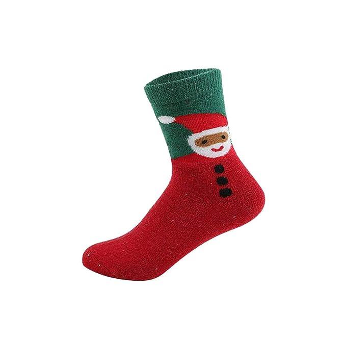 FAMILIZO Calcetines Mujeres Invierno Caliente Algodón Calcetines Renos Navidad Christmas Regalo Muñeco De Nieve Oso Santa Claus Tobilleros Antideslizantes: ...