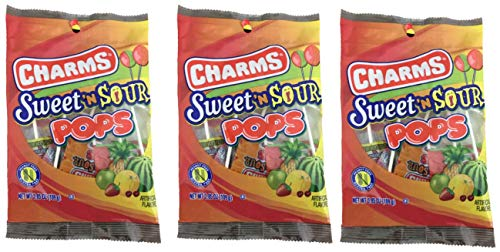 Charms Sweet & Sour Pops | Fruity Sucker | 3.85 Ounce Bag | Pack Of 3 (Sweet Sour Lollipops)