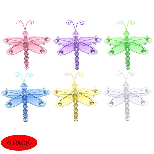 "Dragonfly Decor 3"" Assorted Mini X-Small Wire Hanging Nylon Mesh Dragonflies 6 Piece Decorations Set Decorate Baby Nursery Bedroom Girls Room Wall Wedding Birthday Party Shower Craft Invitation Art"