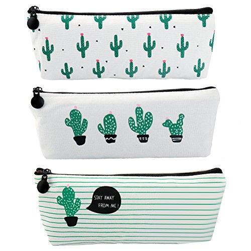 PHEZEN Set of 3, Cute Cactus Student Canvas Pencil Pen Case Cosmetic Makeup Bag Coin Purse Pouch,Super Large Capacity School Stationary Case Holder