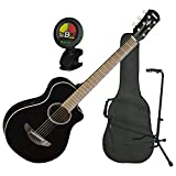 Yamaha APXT2 BL 3/4 Size Acoustic Electric Guitar Black w/Gig Bag, Tuner, and Stand